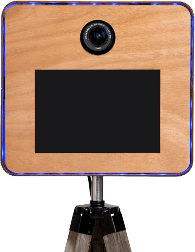 Photo booth box with tablet and DSLR camera on a wooden stand