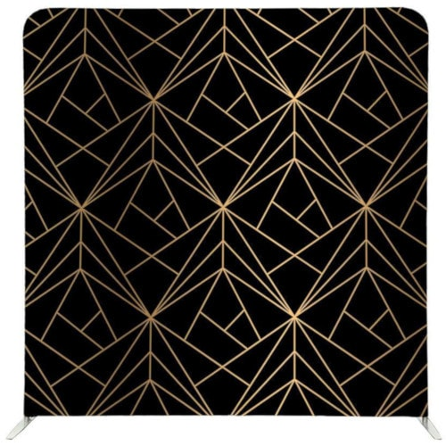 Photo booth pillow backdrop with black background and gold lines in theme with great gatsby