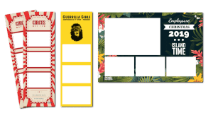 3 example of photo strip designs with different colours, size and layouts