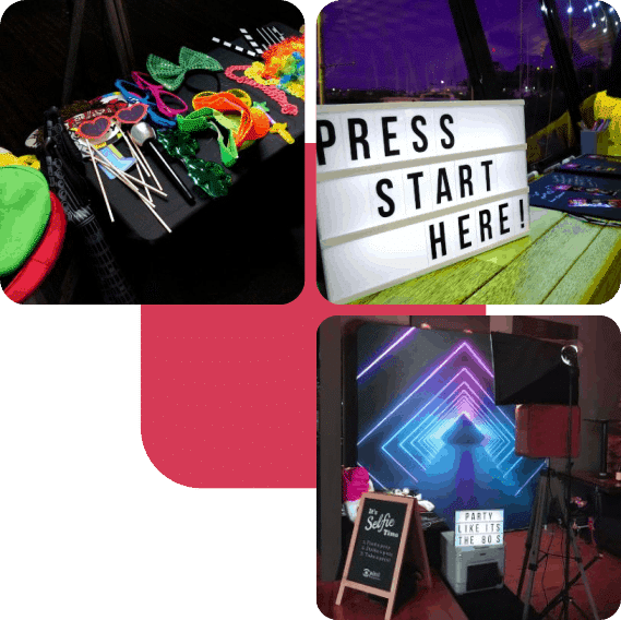 Collage with props, letter light box and photo booth setup