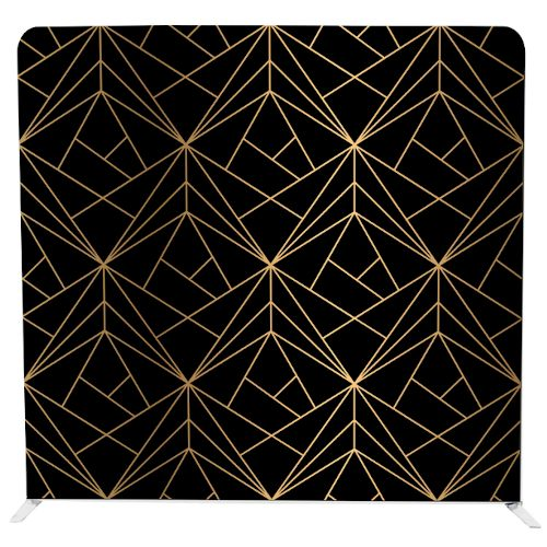 Gatsby style pillow backdrop with black background and gold geometric lines