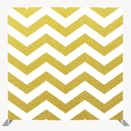 Photo backdrop with gold and white horizontal zig zag lines