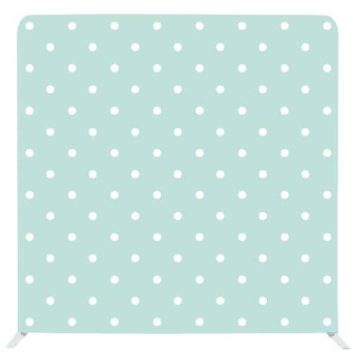 Mint coloured photo backdrop with regular polka dots pattern