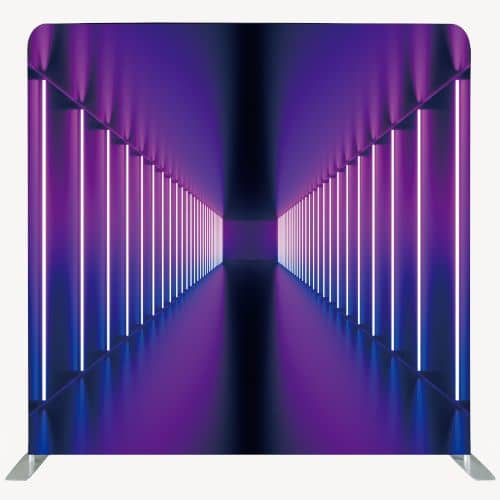 Photo backdrop with vertical purple neon tubes arranged in a corridor effect