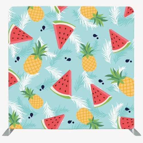 Tropical photo backdrop with watermelon and pineapple on mint blue background