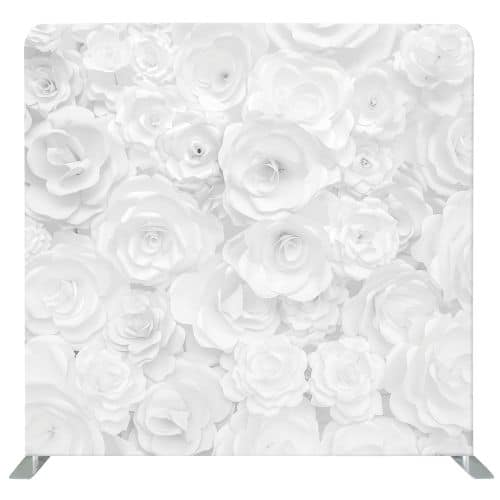 Photo backdrop with white flowers