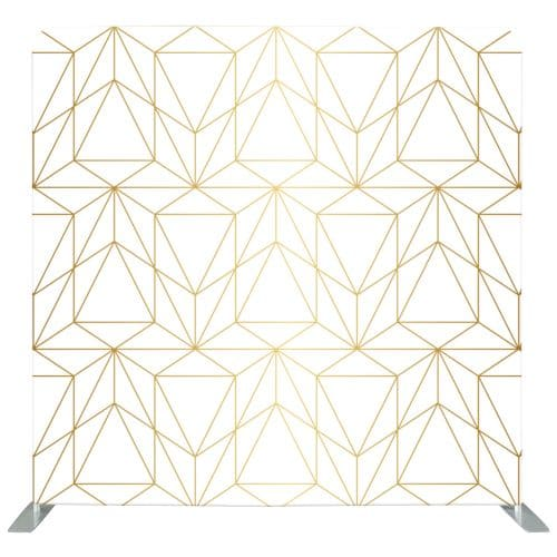 White photo backdrop with gold geometric lines and shapes